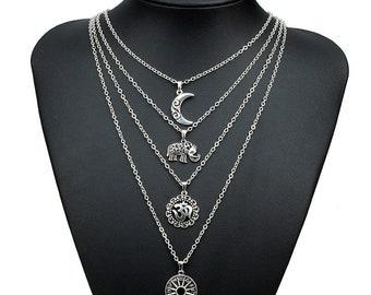 Necklace Women Hippie Boho Statement Multi layer Necklace Bib Necklaces & Pendants Bijoux Maxi Colar