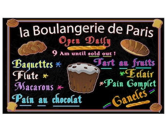 French Bakery, Self Stick Sign, Fine Art, Re-positional Sign, 16 by 27 inches, with fast and free shipping.