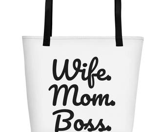 Beach Bag, Tote Bag, Wife Mom Boss, Gift for Mom