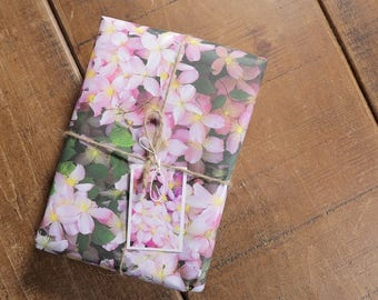 Clematis Eco Wrapping Paper and Gift Tag