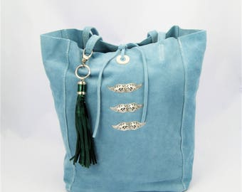 Soft Blue Suede Tote Embellished Silver Vintage Style Filigrees and Green Metallic Leather Tassel.