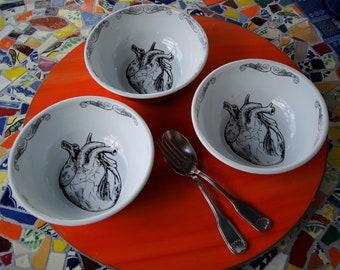 3 Enamel Bowls Mexican Heart Original Art Work Contemporary  Design