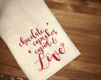 Chocolate, cupcakes, Cupid, & love tea towel