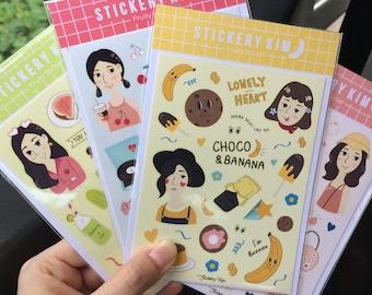 Set of hand drawn fruity sticker sheet