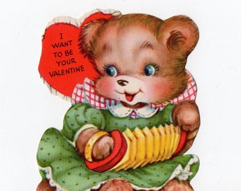 Vintage Bear Valentine |  Gibson Greeting Card | Valentine's Day, Valentines, Anthropomorphic, Bears| Paper Ephemera