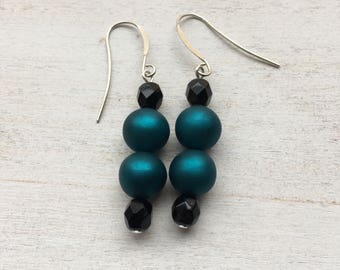 Vintage Peacock Beaded Drop Earrings