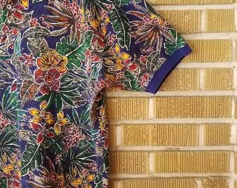 90s tropical polo shirt -xl-