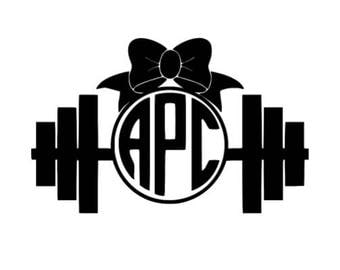 Dumbell monogram with bow