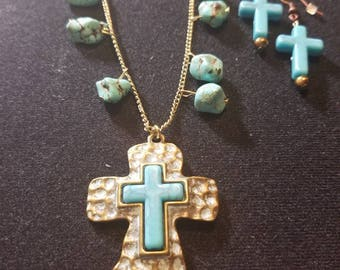 Western Teal And Bronze Cross Set
