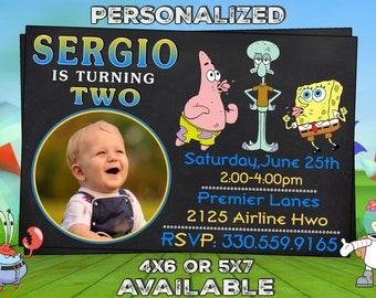 SpongebobInvitation, Spongebob Birthday Invitation, Spongebob, Spongebob Printable, Spongebob Card,Spongebob Digital Printable