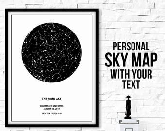 Custom Sky Map, Star Chart Personalized, Star Chart Print, Night Sky Print, Custom Star Map Digital, Custom Star Chart, Constellation Print