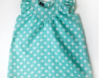 Polka Dot Toddler Linen Sleeveless Girls Dress Size 3 - 4 Years