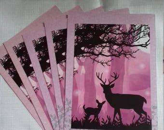 Pack of five 5x7 handmade cards (birthday, notelet, just because.)
