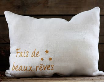 "Handmade French antique pure hemp 19th pillow 11""x 9"". French hemp. French linens. Vintage hemp. Vintage linens. French cushion. Hemp decor."