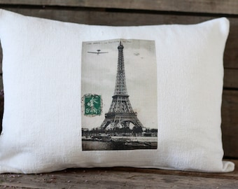 "French handmade pillow 16""x 12""  pure French hemp 19th. Postcard PARIS. Postcard Eiffel. Antique linens. Eiffel tower cushion. Eiffel decor"