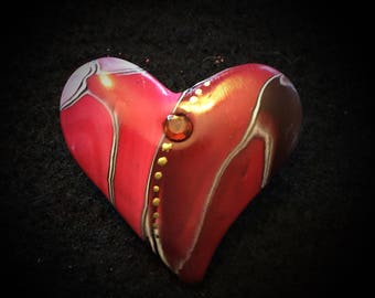 Red 'Warrior' Heart Pin - Active Addiction