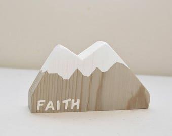 Driftwood Mountain Desktop Decor | Faith Gift Ideas | Bible Verse Decor | Scripture Gifts | Matthew 17:20 | Wood Office Decor | Mustard Seed