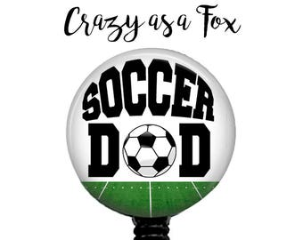 Soccer Dad Retractable Badge Holder, Badge Reel, Lanyard, Stethoscope ID Tag, Nurse, RN, Doctor, Teacher, md cna lpn rrt pa gift
