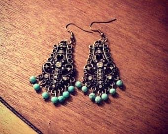 Turquoise & Brass Chandelier Earrings