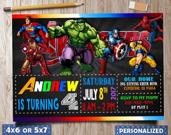 Avengers Birthday Invitation, Avengers Invitation, Avengers Birthday, Avengers party,  Superhero Invitation, Boy Invitation, Superhero