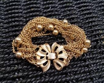 Vintage goldtone multi strand chain bracelet