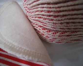 20 wipes washable cotton Washcloths organic Red White Pinstripe