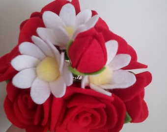 felt red rose and white daisy flower bouquet