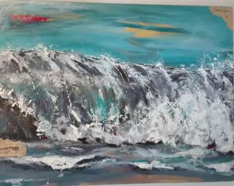 Wave sea North Sea storm painting picture