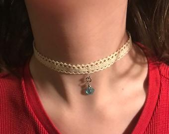 Sea glass chokers! Beach jewelry, lace choker, handmade, adjustable size