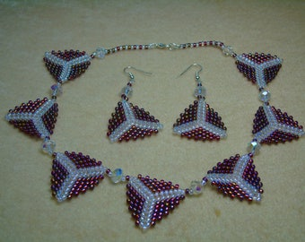 Triangle Pedant Silver Plated 16 inch Necklace and Earrings Set