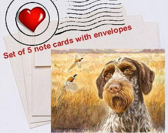 October A German Wirehaired Pointer Note Card Set