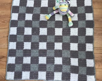 Grey and White Crochet Gingham Effect Baby Blanket