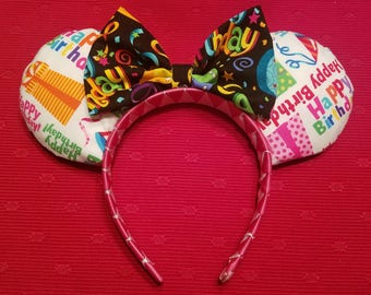 Happy Birthday Mickey/Minnie ears headband