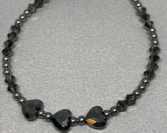 Swarovski Crystal Heart Silver Night with Grey Pearls and Crystals