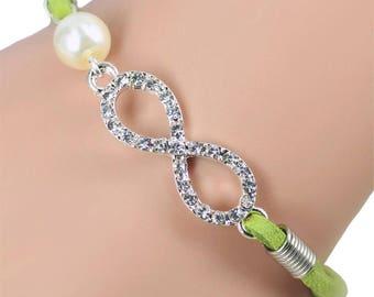 Bracelet suede * Infinity Glitter Green