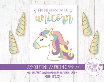 Monster image inside pin the horn on the unicorn printable