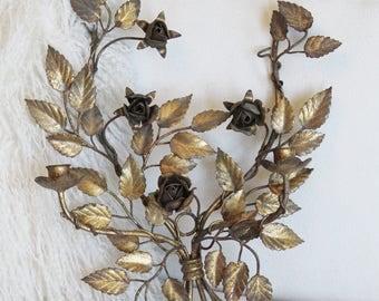 Antique Italian Tole Gilt Wall Sconces Gorgeous Patina Roses Gorgeous