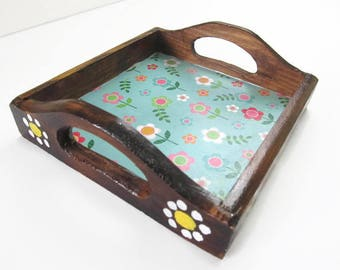 Small Wooden Blue Flower Decorative Tray