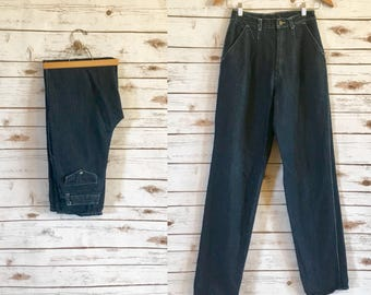 Vintage High Waisted Dark Striped Jeans, 70's Normandee Rose High Waist Jeans Size 27 x 33, Vintage Striped High Waisted Jeans