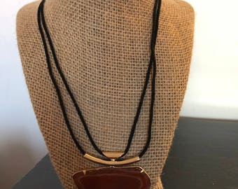 cord necklace gold plated refine with natural stone brown agate