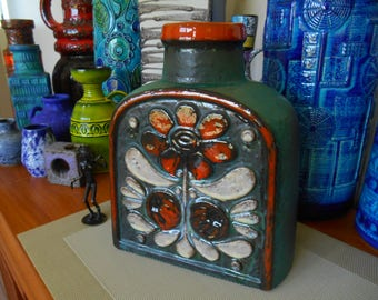 "Carstens vintage 1960's vase, super rare ""Luxus"" abstract flower design, West German fat lava era lounge dining kitchen bar office pottery"