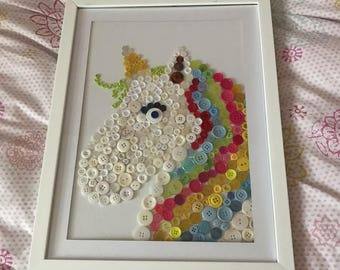 Framed unicorn on a thin canvas using buttons. Perfect for any little girls bedroom