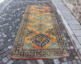 Turkish runner rug, Free Shipping 4.3 x 11.5 ft. boho runner rug, pastel color rug, decorative hall rug, anatolian wool rug, MB278