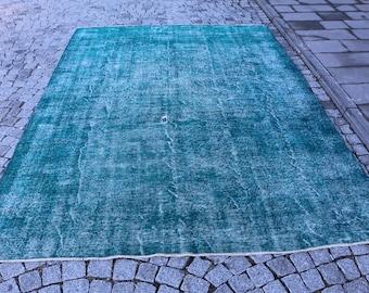 Blue color Overdyed Rug Free Shipping 6.9 x 9.6 ft. turkish rug, anatolian large size oushak rug, oversize overdyed rug, wool rug, MB331