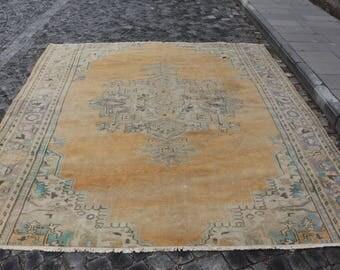 orange rug, Free Shipping 8.2 x 9.6 ft. pale color oushak rug, bohemian area rug, turkish rug, handknotted wool rug, natural rug,  MB353