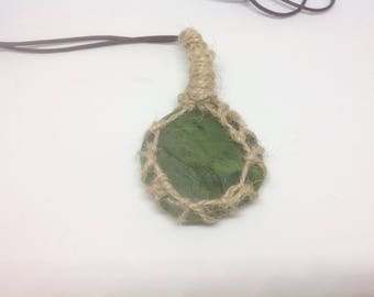 Nephrite Jade and hemp necklace