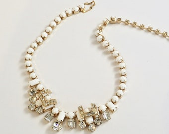 Vintage Eisenberg Milk Glass and Rhinestone Art Deco Revival Necklace