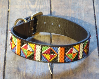 Masai Warrior Beaded Dog Collar (Size: L)