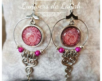 Creole earrings with pink cabochon and Pearl Pink