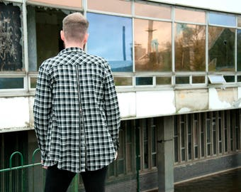 Naive Apparel Black & White Back Zip Check Flannel Shirt